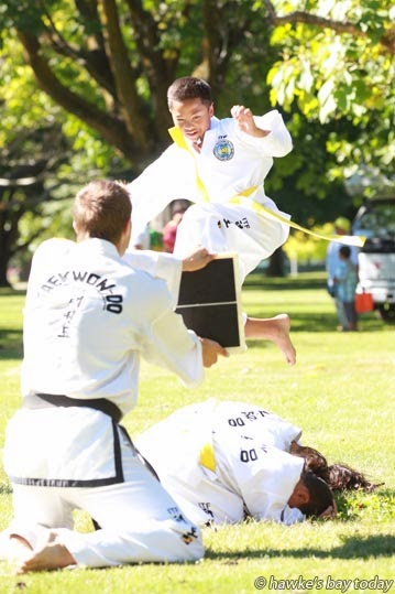 Irongate School Tae Kwon Do group perform at the Flaxmere Family Festival, Flaxmere Park, Flaxmere, Hastings photograph