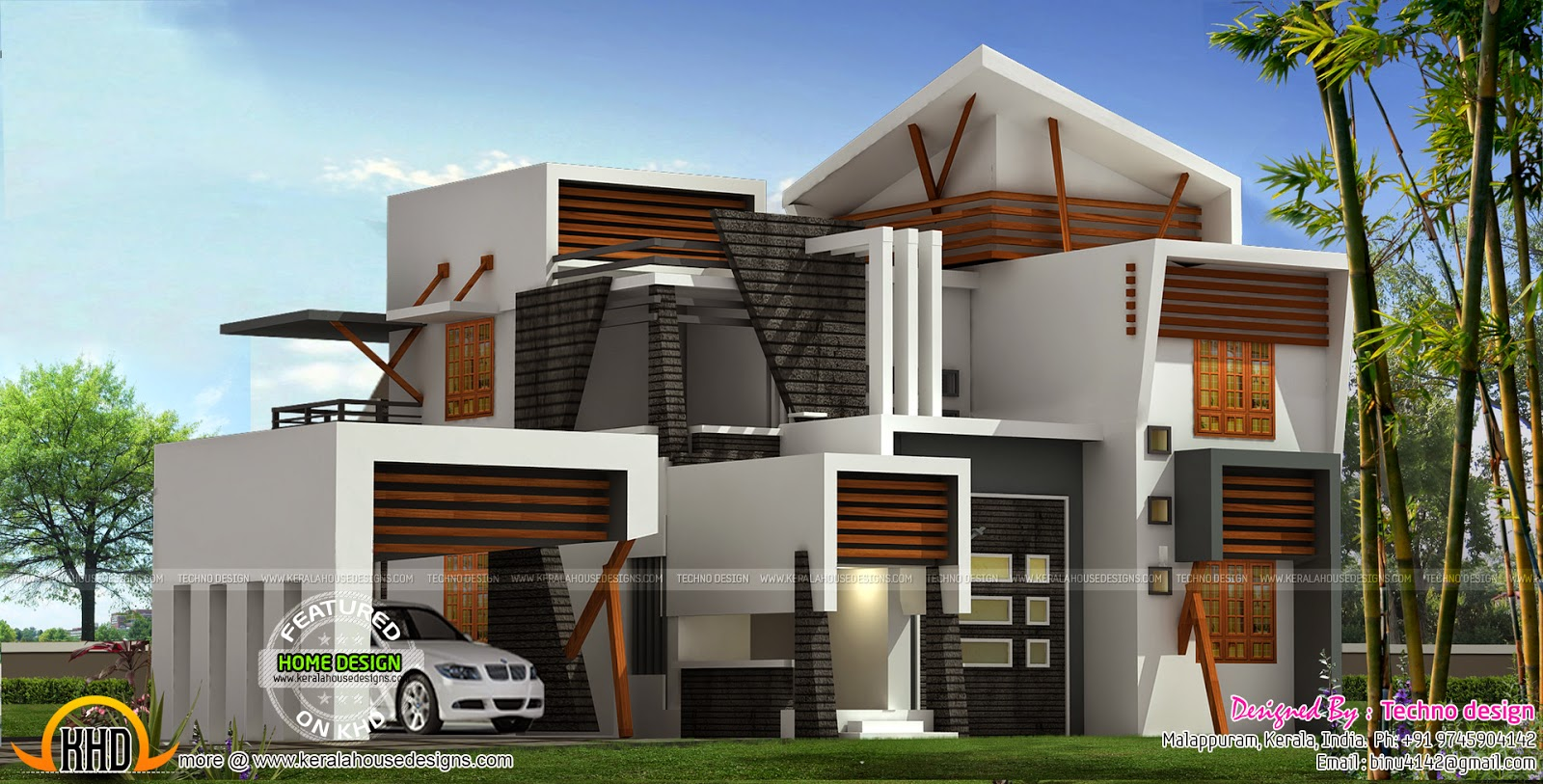 Modern 214 square meter house plan kerala home design for Top 50 modern house design