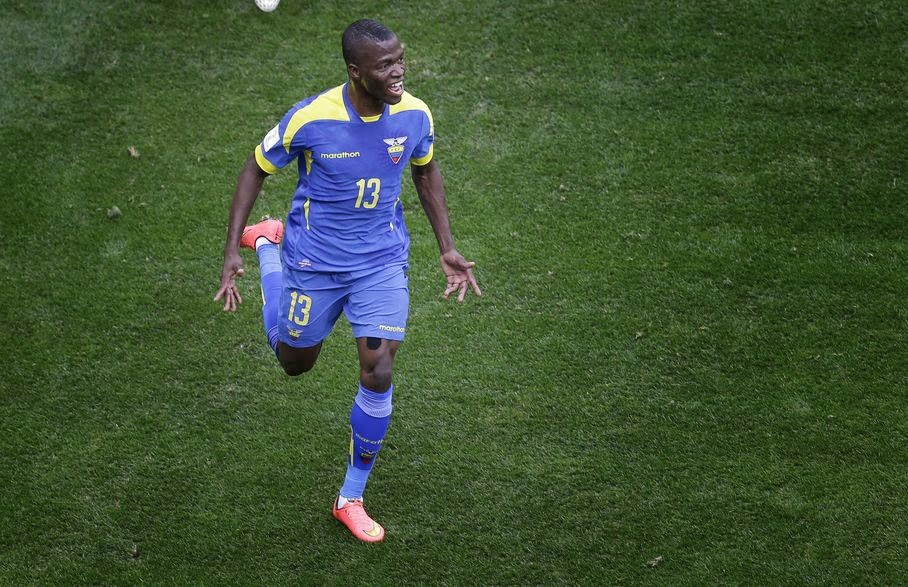 Ecuador's Enner Valencia celebrates scoring the opening goal during the group E World Cup soccer match between Switzerland and Ecuador at the Estadio Nacional in Brasilia, Brazil, Sunday, June 15, 2014.