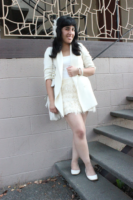 Blazer and Skirt All White Monochrome Outfit
