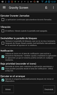 Configurar Gravity Screen