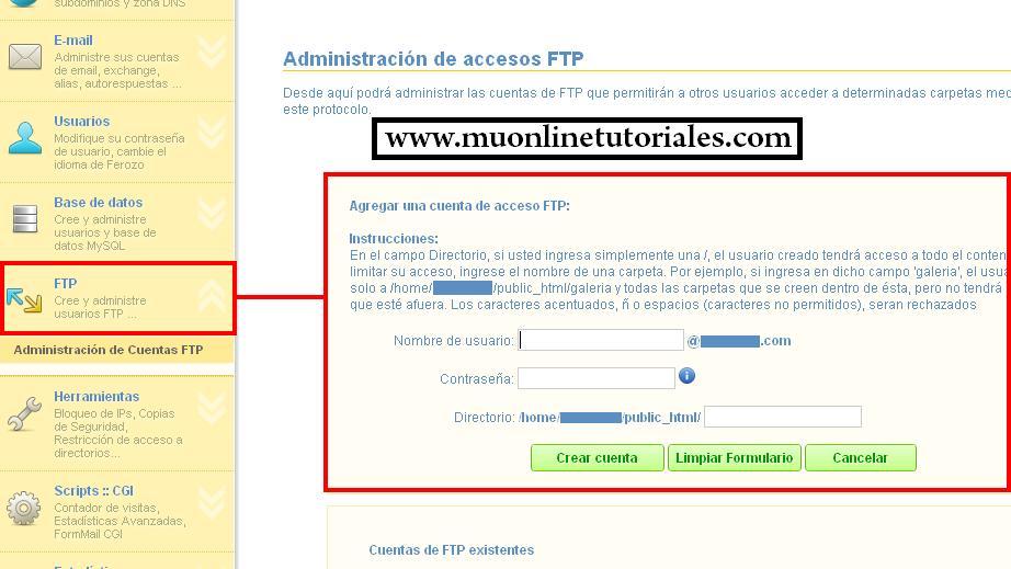 Agregando nuevo usuario FTP