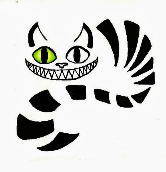 Cat laughs tattoo stencil