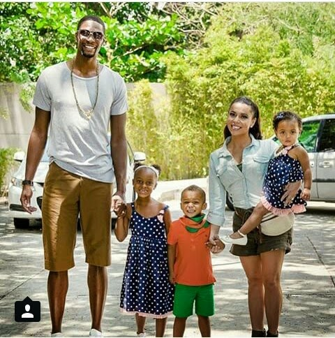 Family photo of the basketball player, married to Adrienne Williams Bosh, famous for Toronto & Miami.