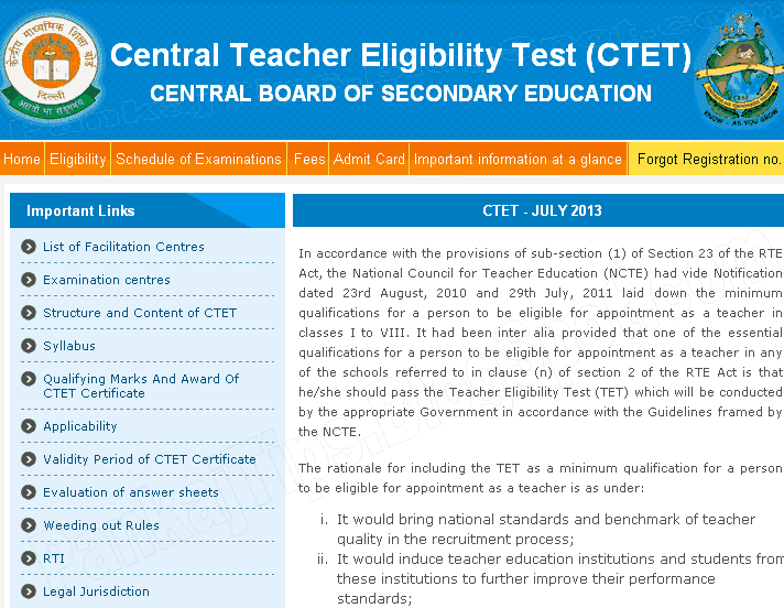 ctet 2013 central teacher exam by cbse