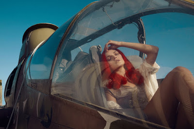 woman in vintage airplane, jamie nelson photographer, fashion and beauty photographer new york