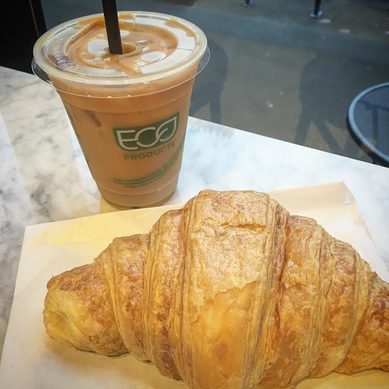 cold brew and giant croissant