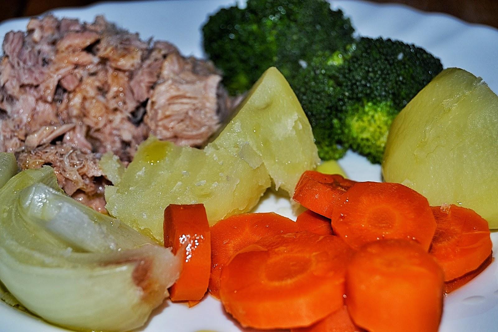 Verduras al vapor con atún