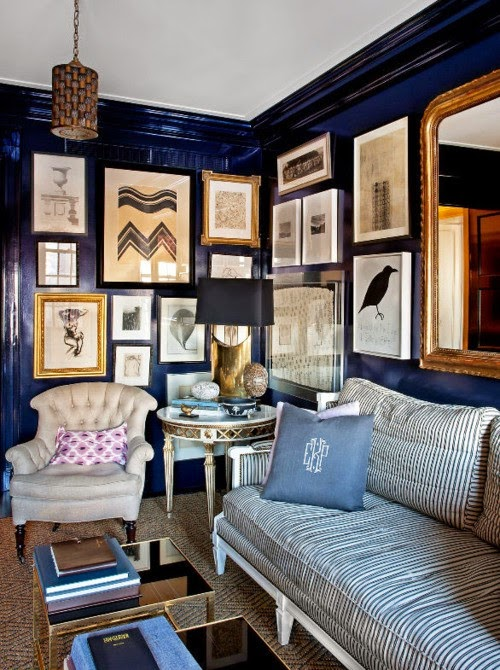 Reflecting pond navy blue wall paint dining room