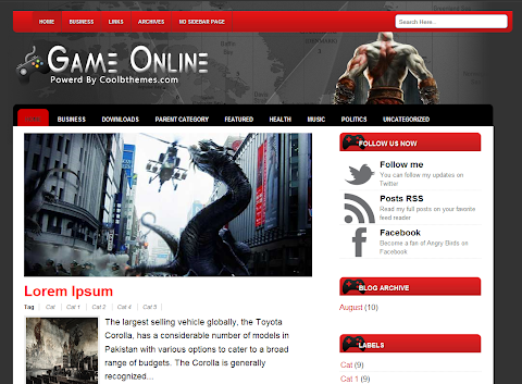 Game Online Blogger Theme