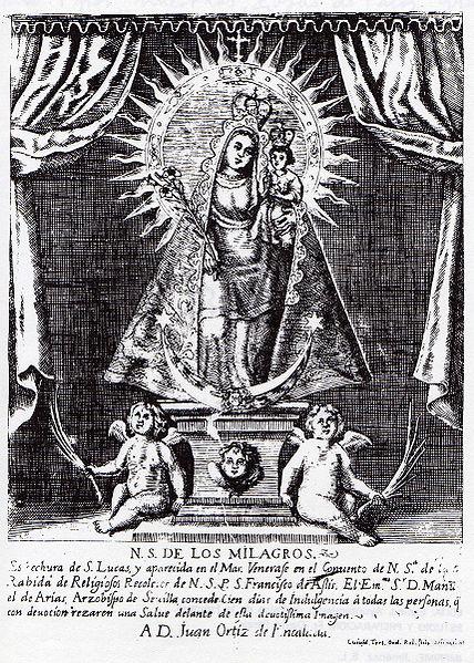 Grabado del Siglo XVIII de la Virgen de la Rábida
