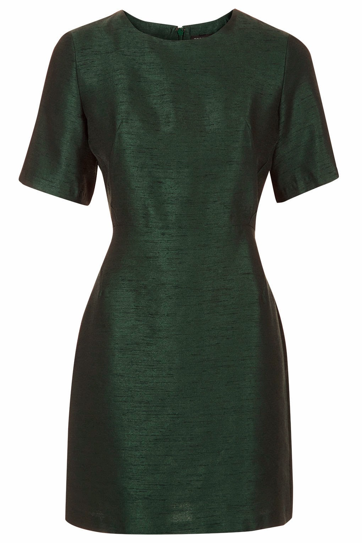 dark green silk dress