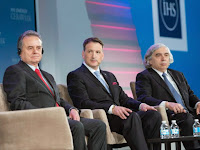 Greg Rickford, Canada's Minister of Natural Resources, participates in a panel discussion with Dr. Ernest Moniz, United States Secretary of Energy, and Pedro Joaquín Coldwell, Mexican Secretary of Energy, during CERAWeek in Houston, Texas in April. (Credit: CNW Group/Natural Resources Canada) Click to Enlarge.