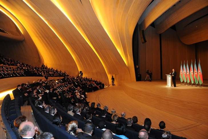 Conference hall in Heydar Aliyev Cultural Center by Zaha Hadid Architects