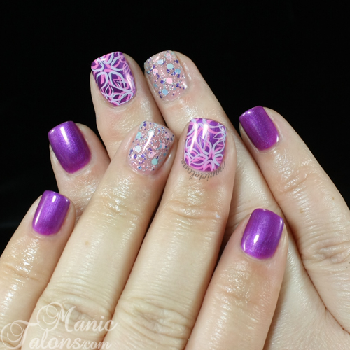 Cuccio Grape to See You with A Star is Born and stamping nail art