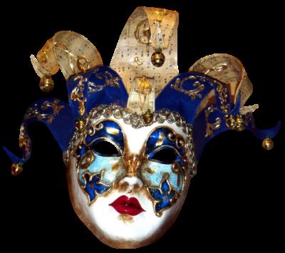 Máscara Carnaval PNG - Arlequim musical blue