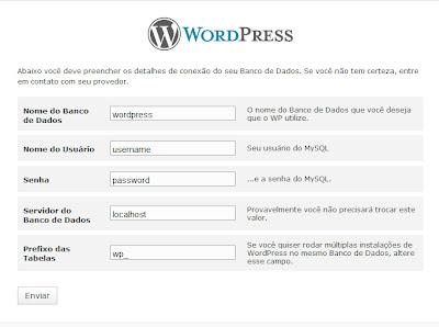 senha, login e outras coisas para serem configuradas no blog wordpress