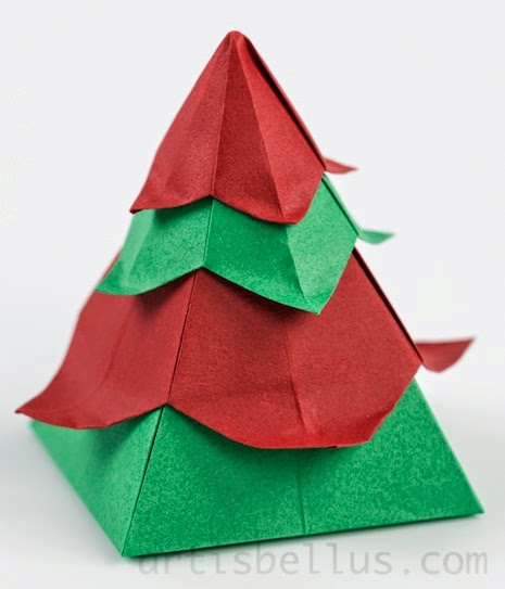 Origami Boxes: Christmas Tree Box