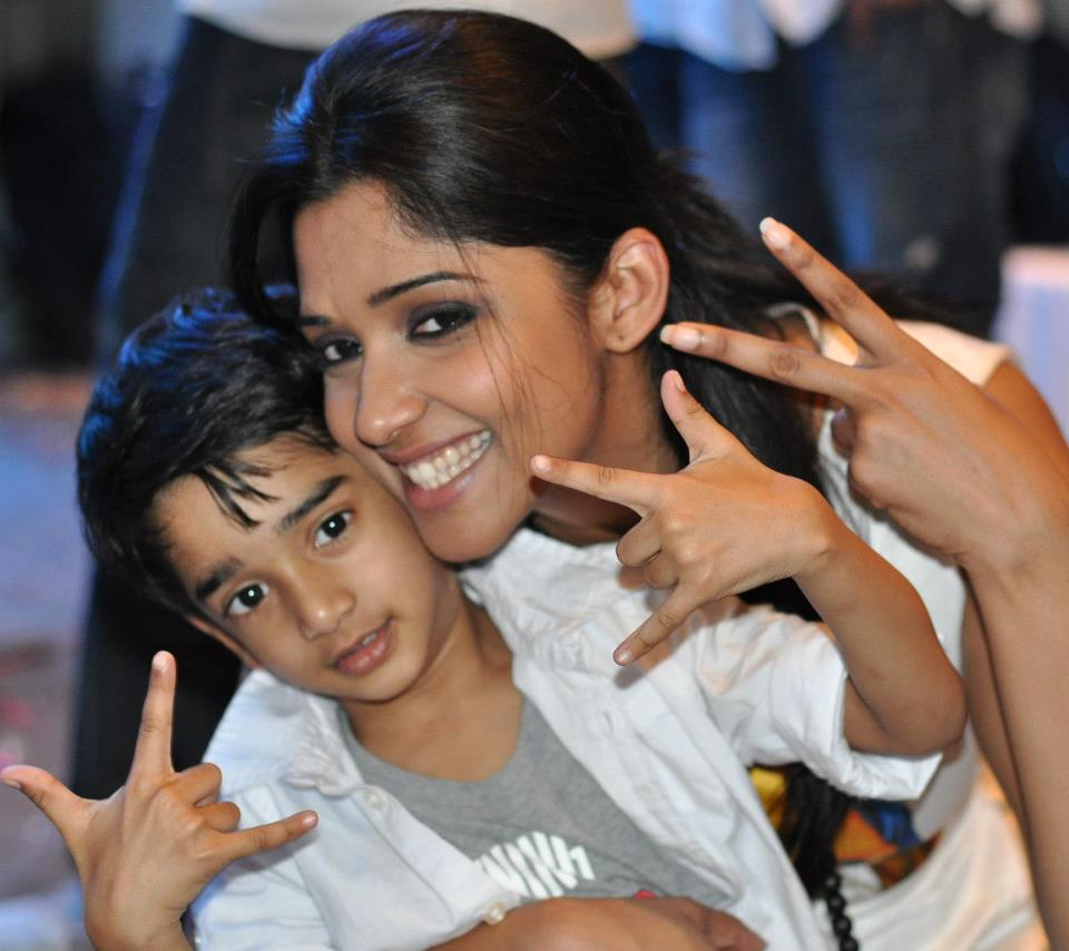 Nyla Usha Malayalam Actress with son Aarnav Rona