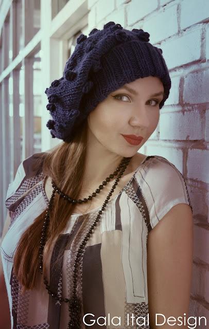 шапка, теплая шапка, купить шапку, синий цвет, вязаная шапка
