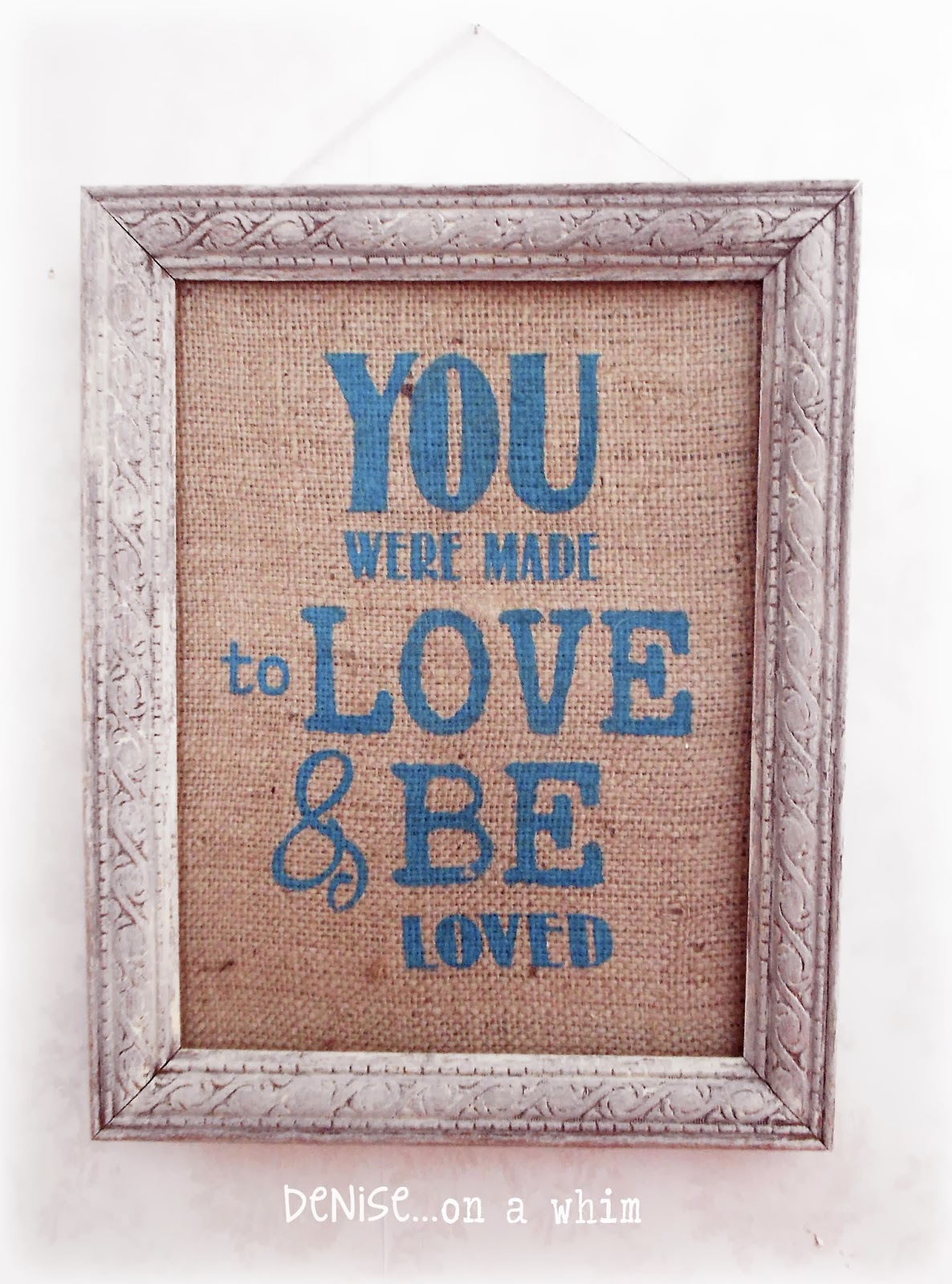 Burlap Love Sign via http://deniseonawhim.blogspot.com