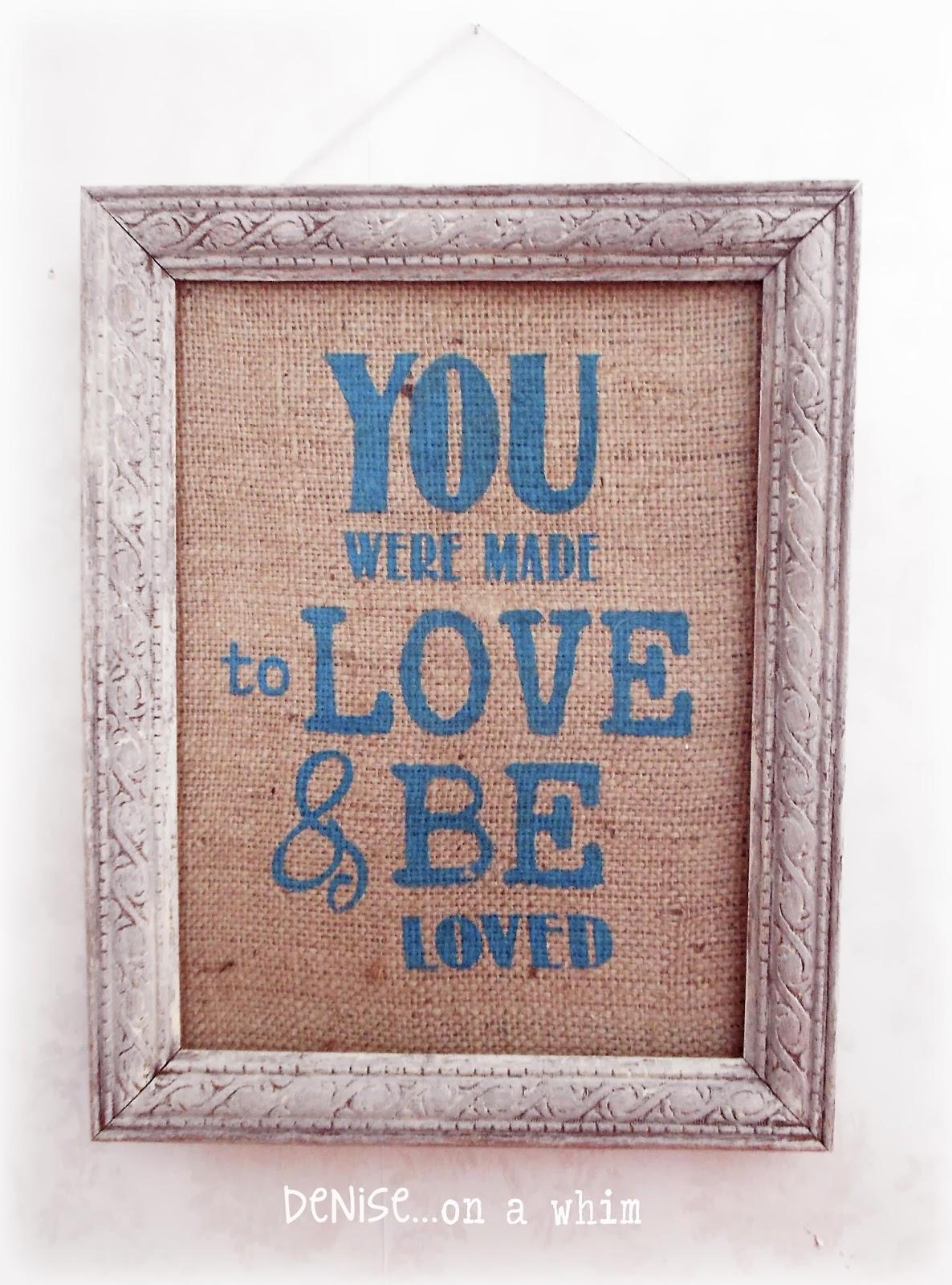 Burlap Love Sign via http://deniseonawhim.blogspot.com