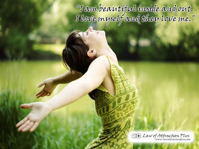 Free Law of Attraction Wallpaper with Decree and Positive Affirmation about Love
