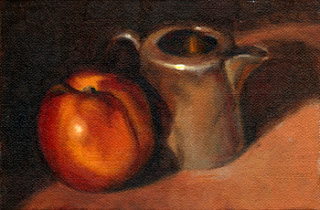 Oil painting of a yellow nectarine beside a small silver-plated milk jug.