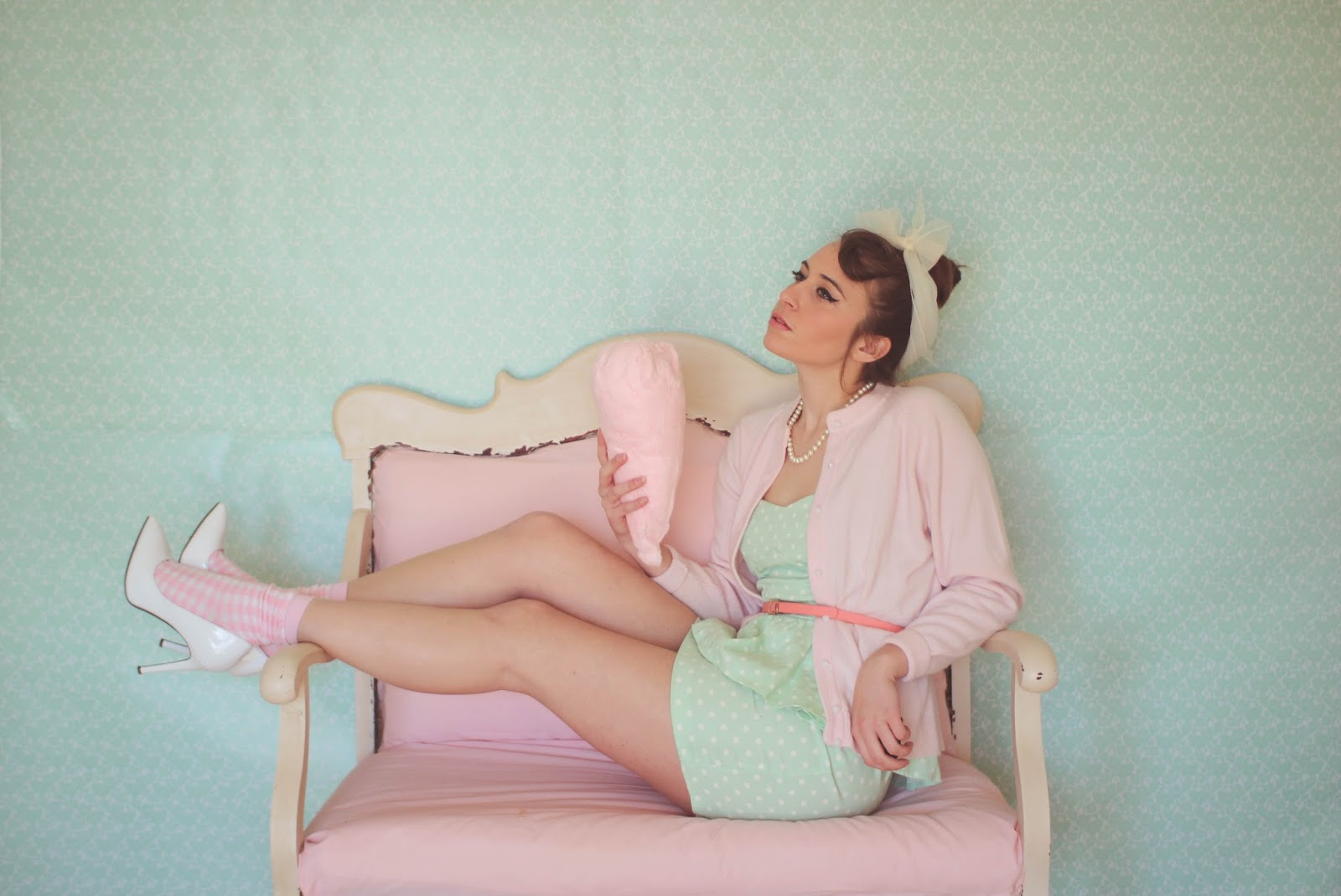 Retro, pastel, outfit, pink, green, mixed prints, cotton candy, girly, Drive, drive movie, femme fatale, sweet, vintage, DIY, backdrop, spring