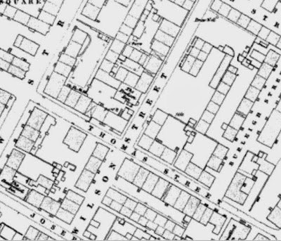 A large scale map showing densley packed streets.  Wilson Street, Thomas Street, Burleigh Street amongst them.