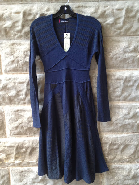 Blue mixed knit dress.  Barcelona.