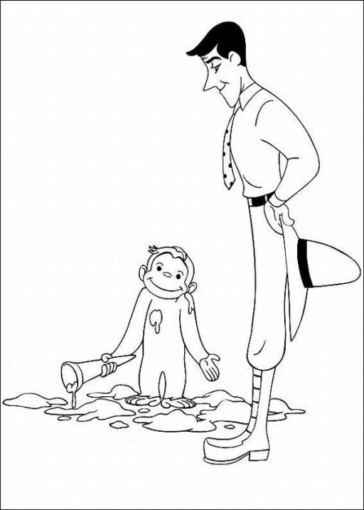 Free kids coloring curious george i didn 39 t do it for Curious george coloring pages