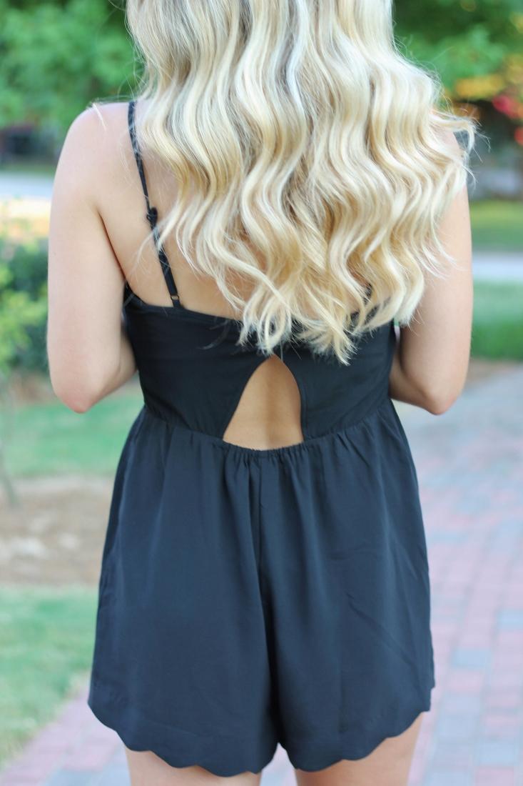 Scallop Hem open back romper - blonde ombre hair color