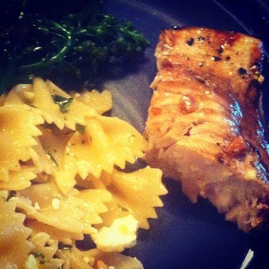 Grilled Swordfish with Garlic Soy Marinade and side of pasta.