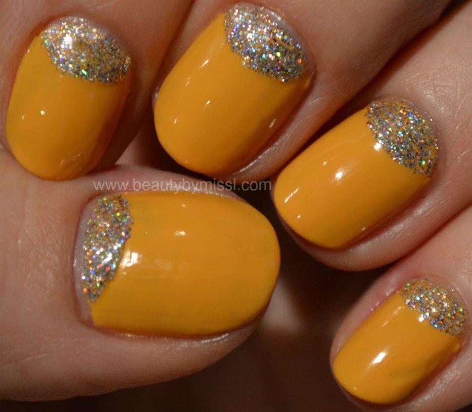 yellow glitter nails, nail art for nubbins