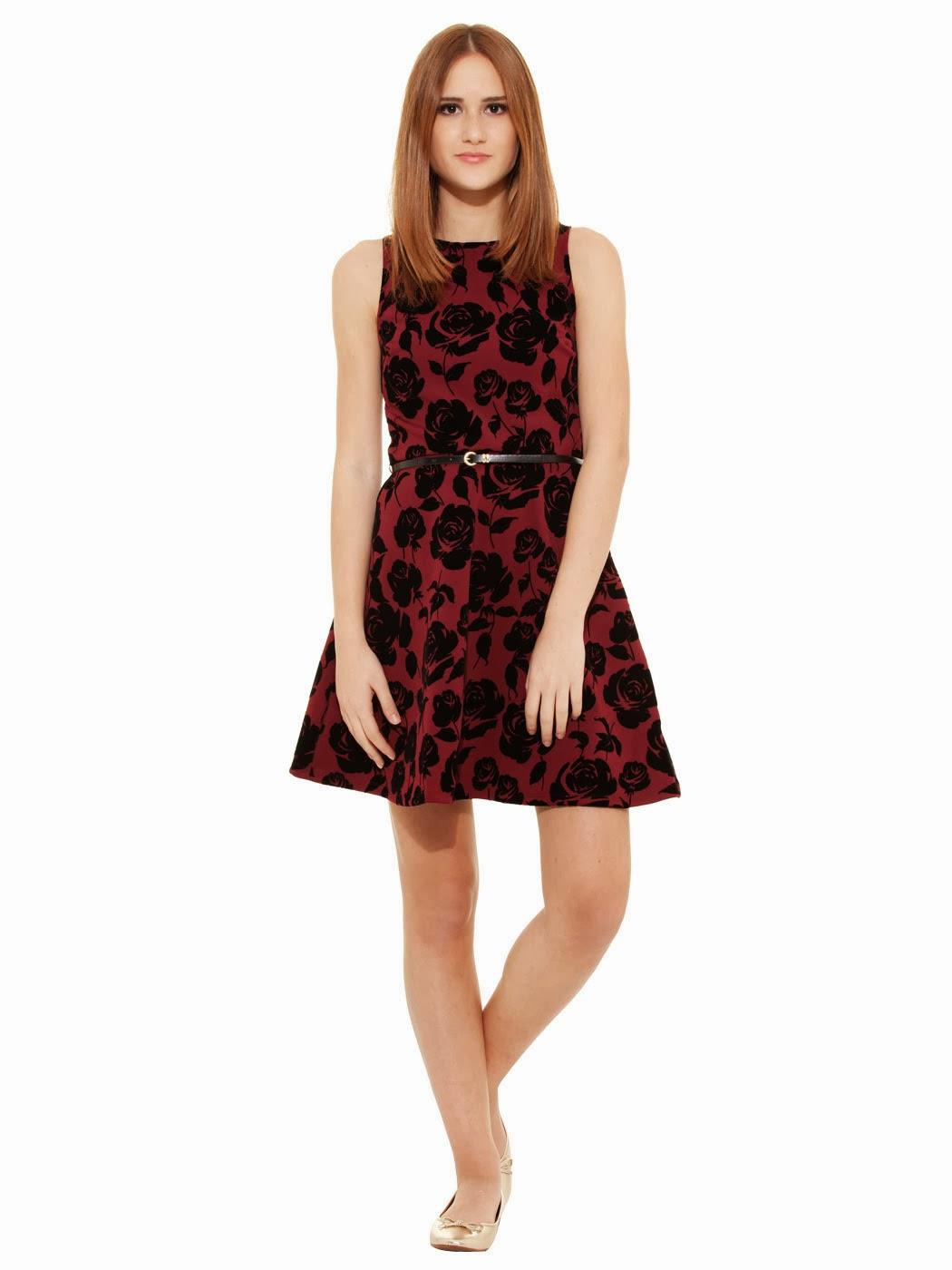 kemerli elbise, ofis elbisesi, kısa elbise, çiçekli elbise