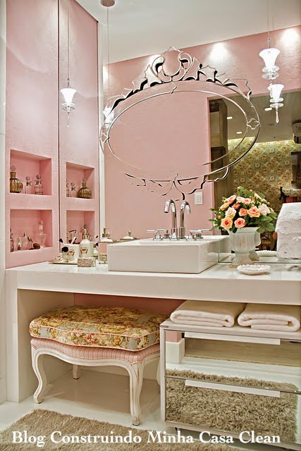 Construindo Minha Casa Clean Banheiros Femininos com Penteadeiras! O Sonho d -> Decoracao De Banheiro Infantil Feminino