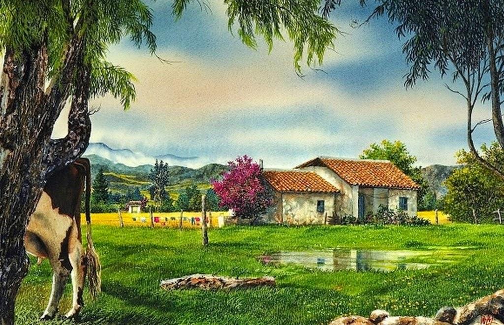 Cuadros modernos pinturas y dibujos paisajes con casas - Paisajes de casas ...