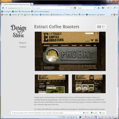 Screen shot of http://designbystevie.com/2011/11/extract-coffee-roasters/.