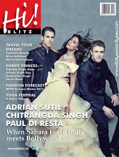 Hot Chitrangda Singh, Adrian Sutil and Paul Di Resta on Cover Hi! Blitz April
