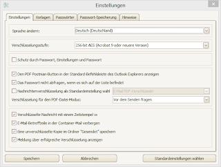 PDF Postman's settings menu in German language.
