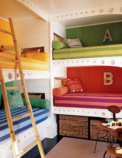 Hollywood cape cod built in bunk beds 4 beds in one room