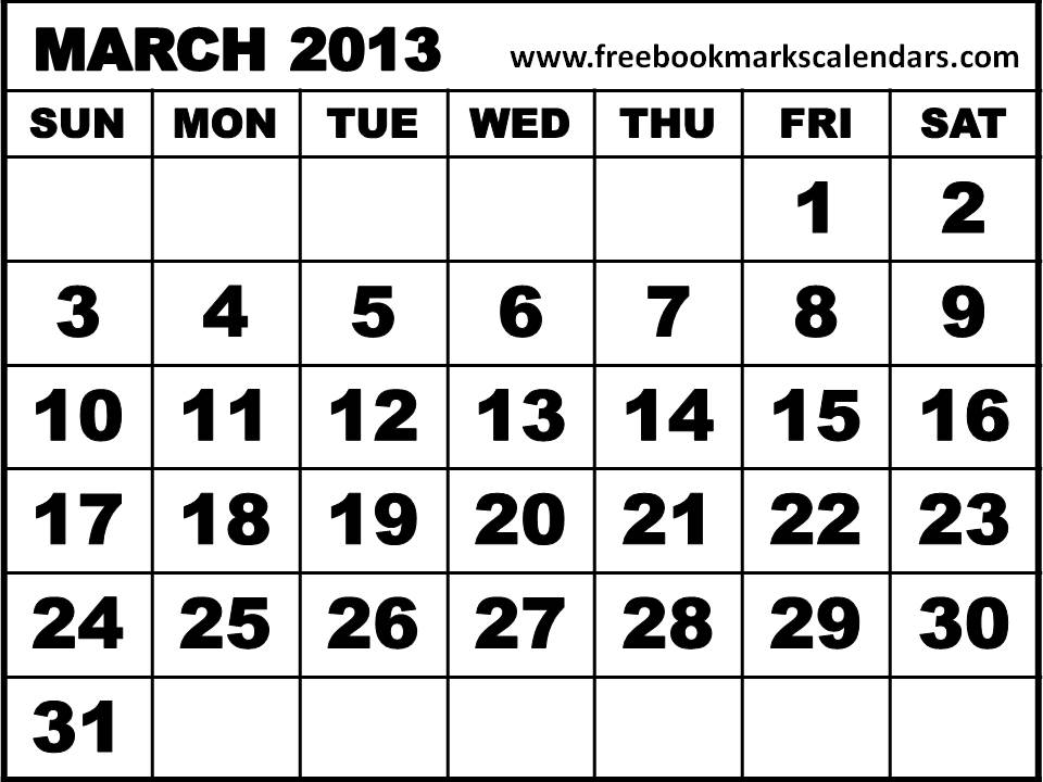March 2013 Calendar Printable Free