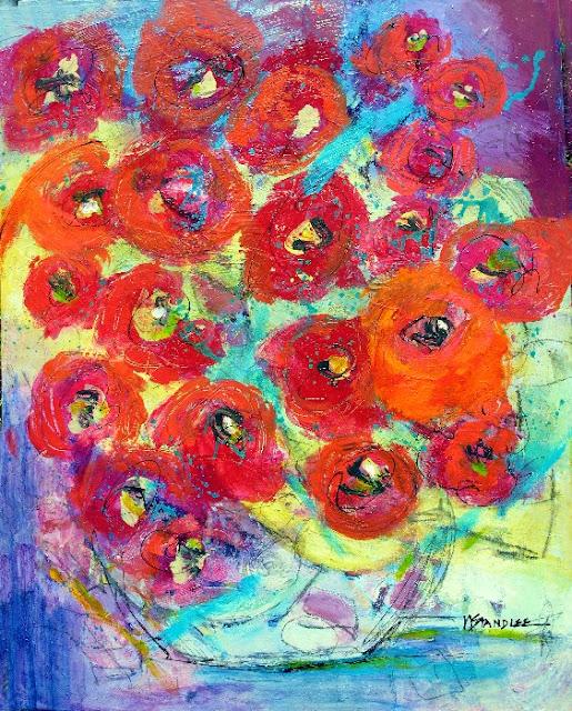 Black Flower Watercolor Art By Tae Lee: Nancy Standlee Fine Art: Heartache Cure 13048, Acrylic