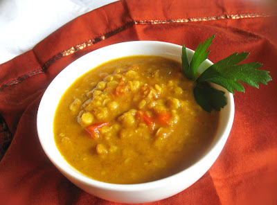 lentil soup with apricots and coconut milk