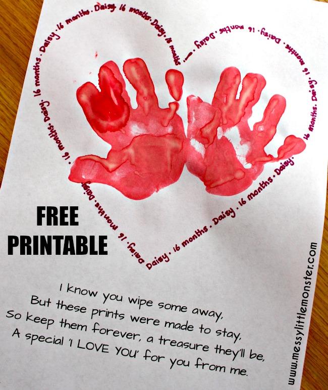 Handprint Keepsake Poem - Messy Little Monster