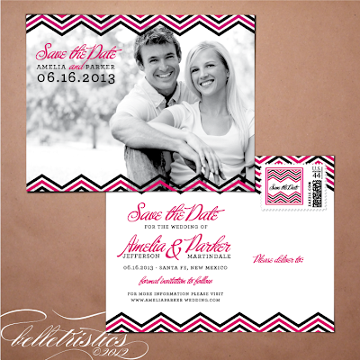 diy printable photo save the date post card modern pink black chevron