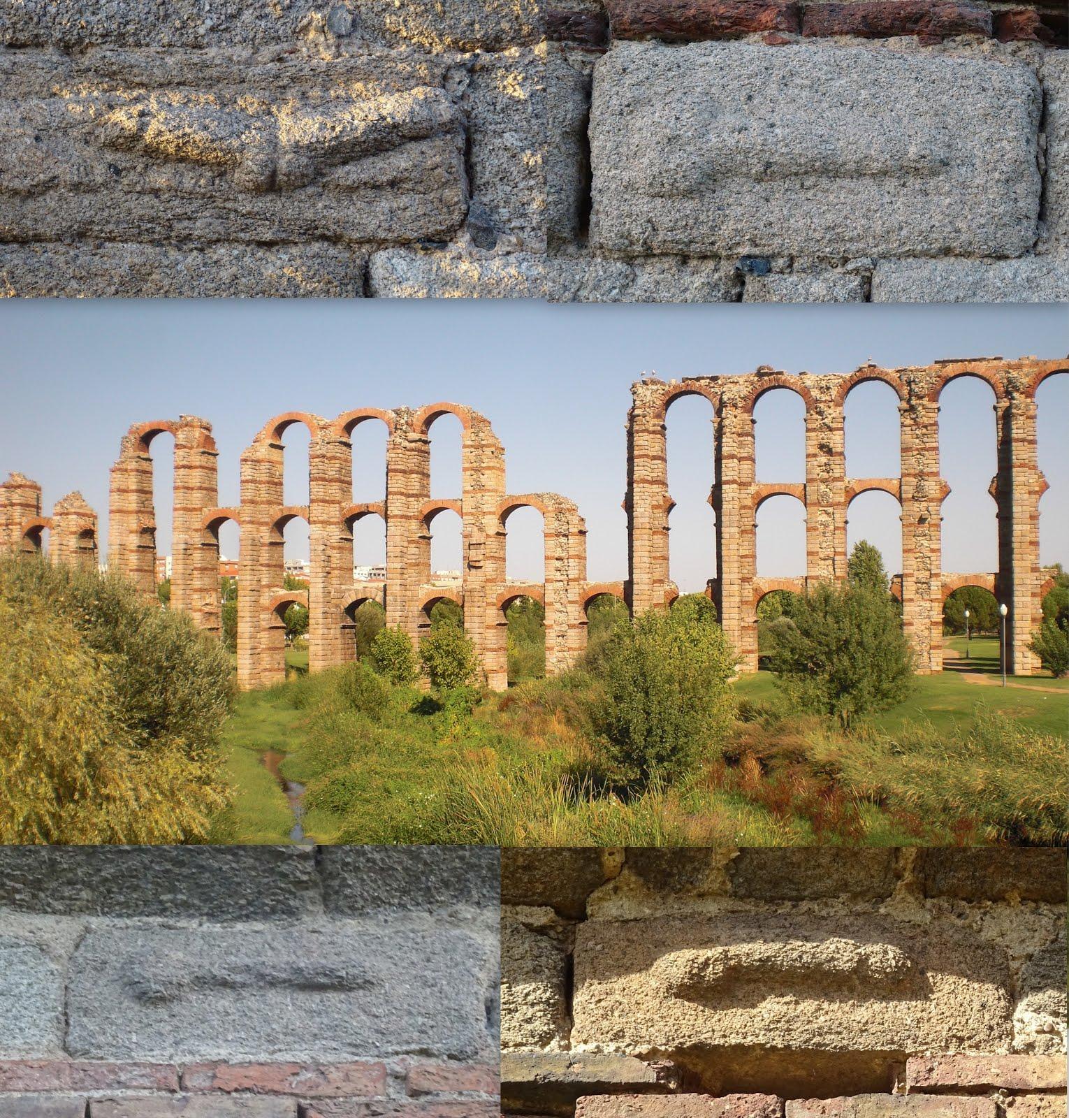 Falos del acueducto de los Milagros, en Mérida