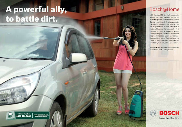 Prachi Desai Washing Car - Prachi Desai Washing Car - Bosch Print Ad