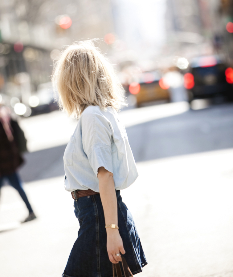 Denim and chambray, Madewell, AG Jeans, Alexa Chung